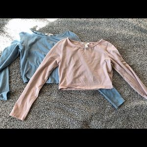 Two forever21 long sleeve crop tops